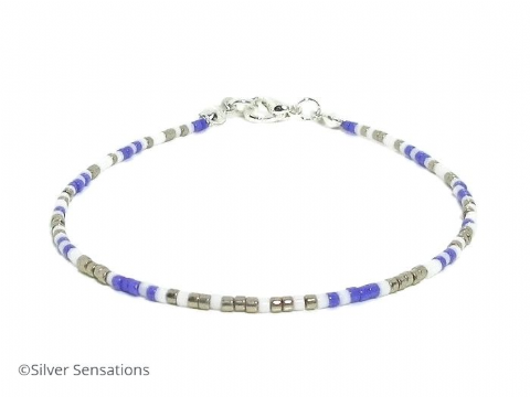 Dainty Purple, Silver & White Seed Bead Stacker Bracelet